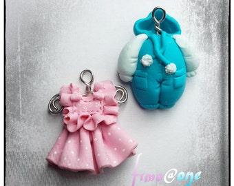Polymer clay pendants charms baby/bimba
