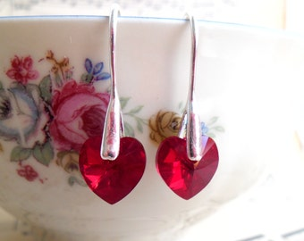 Swarovski Crystal Heart Earrings Red Swarovski Heart Drop Earrings Silver Plated Drop Earrings GA