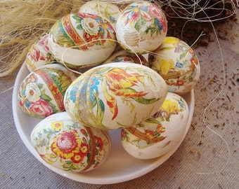 Set of Decorative wood eggs. Decoupage wood eggs. Shabby eggs. Wooden decorative eggs. Home decor. Spring eggs. Easter eggs