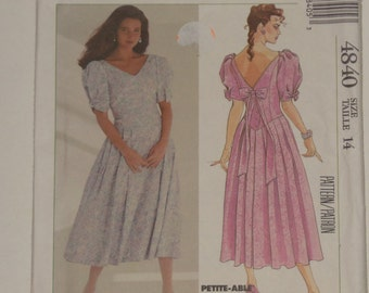 Vintage Laura Ashley Sewing Pattern Misses Dress Pleated Skirt Fitted Bodice 14 McCalls 4840