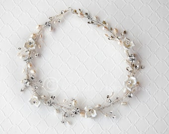 Bridal Hair Vine with Ivory Pearls and Porcelain Flowers Wedding Headpiece Headband