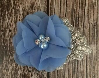 Cornflower blue hair clip, flower girl hair clip, rhinestone hair clip, flower hair clip, alligator clip, wedding clip
