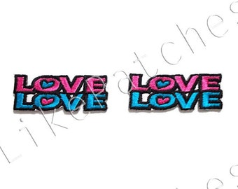Set 2 pcs. Pink & Blue Love Signs - Valentine's Message New Sew / Iron On Patch Embroidered Applique Size 4.7cm.x1.8cm.