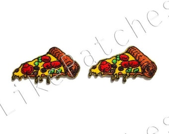 Set 2 pcs. Pizza - Italian Food - Cute Patches New Sew / Iron on Patches Embroidered Applique Size 4cm.x2.2cm.