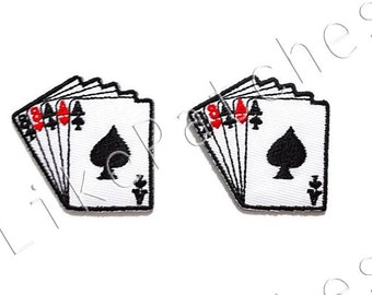 Set 2pcs. Card Games Little Patch New Sew / Iron On Patches Embroidered Applique Size 4.4cm.x4.1cm.