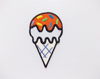 Vanilla Ice Cream Cone with Sugar Topping, Sweet, Food Print New Sew / Iron On Patch Embroidered Applique Size 4.9cm.x8.2cm.