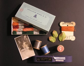 French Couture and Embroidery Instant Collection - Vintage French DMC Thread - Collectible Retro French Haberdashery or Notions Store