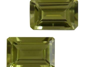 Hebei Peridot Set of 2 Loose Gemstones Octagon Cut 1A Quality 6x4mm TGW 1.15 cts.