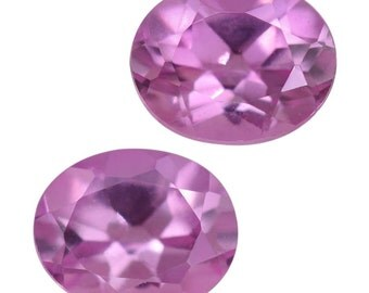 Pink Sapphire Synthetic Lab Created Loose Gemstone Oval Cut Set of 2 1A Quality 5x4mm TGW 0.85 cts.