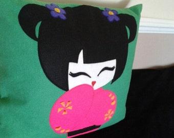 Japanese Girl, Cushion, Pillow, Green, Kokeshi Doll, Children Room, Home Decor.