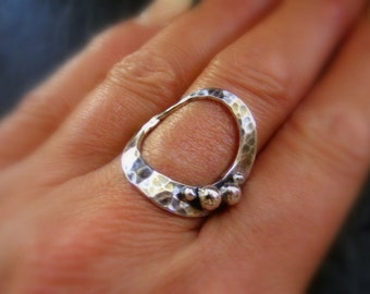 Silver hammered Circle Ring with silver pebbles Circle ring