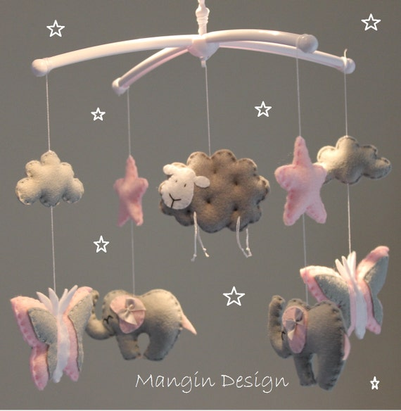 Butterfly elephant sheep baby mobile pink grey and white for Baby mobile pink and grey