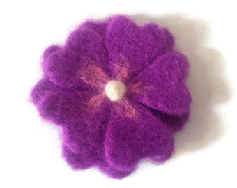 Handmade Needle Felted Mauve Flower Brooch, flower pin, wool pin, wool brooch, mothers day, gifts for her