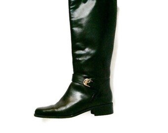 Vntage Black Leather Knee-Hi Equestrian boots