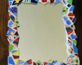Freeform Mosaic Framed Mirror / Kitschy Mirror / 70's Mirror