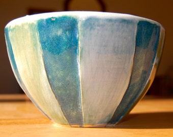 Blue/Green Striped Serving Bowl