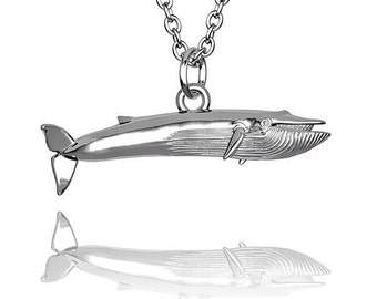Blue Whale small pendant in Hallmarked solid Sterling Silver and chain. Luxury Gift with extraordinary detail.
