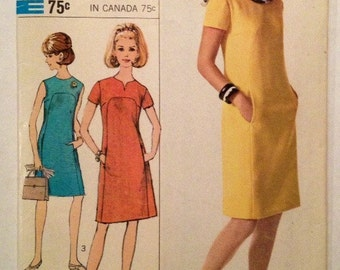1967 Simplicity Pattern # 6959 Dress Misses Size 12, Uncut