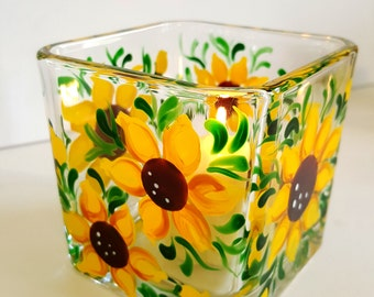Candle Holder- Hand Painted - Sunflower Candle Holder (SML)