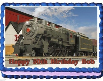 Train Locomotive Edible Cake Topper with FREE Personalization