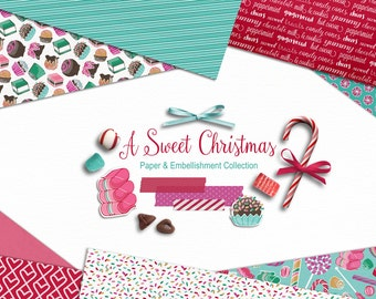 A Sweet Christmas - Digital Paper and Embellishments - Christmas, Holiday, Candy