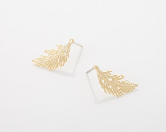 Leaf Post Earring Matte Gold Plated - 2 Pieces <E0037-MG>