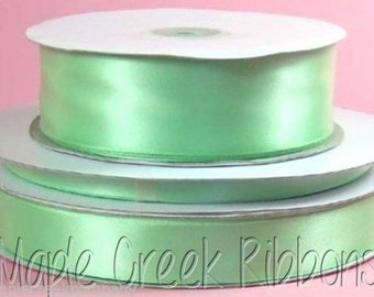 7/8 inch x 100 yards of Mint Green Double Face Satin Ribbon - shines on both sides