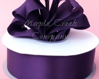 1-1/2 inch x 50 yards of Plum Double Face Satin Ribbon - shines on both sides