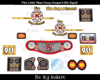 New Replacement Decals Stickers for Little Tikes Tykes Cozy Coupe II Ride On Fire Truck  Large Set