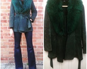 Vintage C&A 70s Suede and faux Shearling/Sherpa afghan coat jacket, UK 8-10, S/M