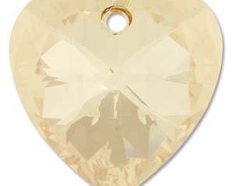 28mm Swarovski Heart Pendant Golden Shadow