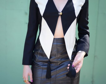 Vtg 90s Moschino Harlequin Cropped Blazer ~ Cheap and Chic by Moschino Top ~ Sz Small
