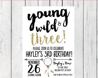 Young Wild & any Age! Tribal Dreamcatcher Personalized birthday  invitation- ***Digital File*** (YWT-DreamGold)
