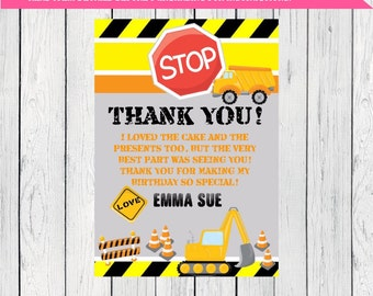 Dump Truck Construction Thank You Card Personalized chalkboard. ***Digital File*** (CONSTRUCTION-THX13)