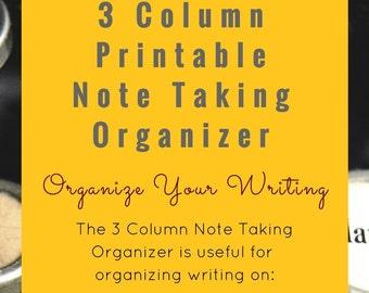 3 Column Note Taking Organizer