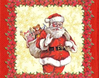 "Decoupage Napkins, Decoupage Paper, Napkins for Decoupage, Scrapbook Craft Paper, Christmas Printed Napkins, Santa Claus, 13""x13"""
