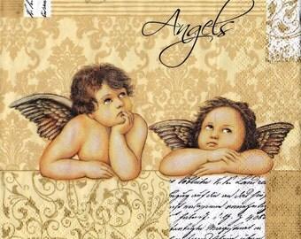 """6 Decoupage Paper Napkins Serviette Christmas Angels  33x33 cm. 13""""x13"""" 6 pcs"""