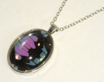 Purple Spotted Swallowtail Butterfly Wing Pendant Necklace Silver Jewelry
