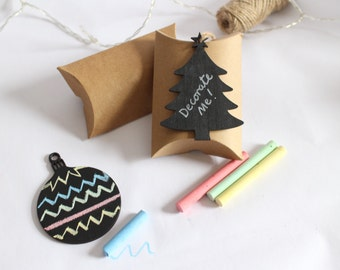 DIY Chalkboard Christmas bauble Tree Decoration - Perfect for kids, stocking filler, table present