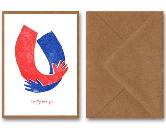 I like you, postcard, greeting card, RISO, birthday, greeting card, greeting card, like screen print