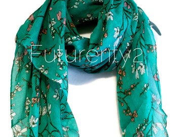 Cherry Blossom Blue/Green Autumn / Spring Summer Scarf / Gift For Her / Womens Scarves / Fashion Accessories