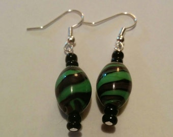 Handmade earrings with red and green  beads