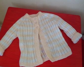 Peach and White striped sweater