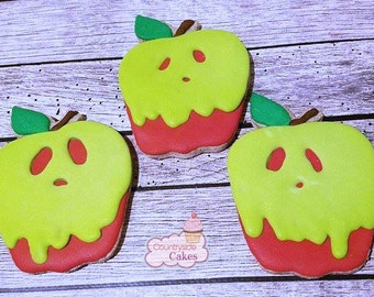"Poison Apple Decorated sugar cookies 3""-1 dozen"