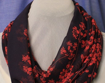 Black Chiffon Infinity Scarf with Red Floral Print