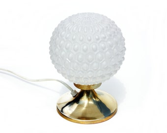 Vintage table lamp white glass and brass reading lamp