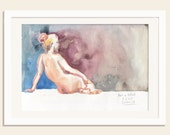 Female Nude painting 4/2015 watercolour drawing - ORIGINALwoman nude painting watercolor nude art - Female nude studies by Catalina