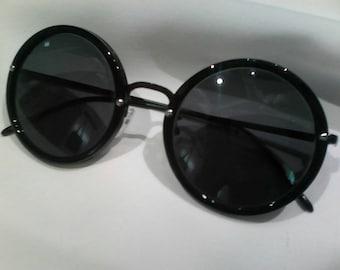Black round sunglasses frames (new old unused stock)