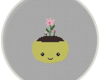 Cute plant, flower cross stitch pattern, Instant Download, Free shipping, Cross-Stitch PDF, spring cross stitch pattern, MCS146