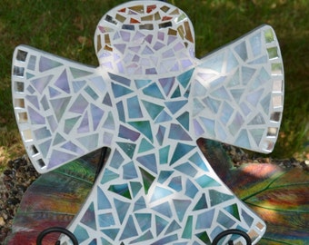 "Mosaic Stained Glass Angel - 9"" x 8"""